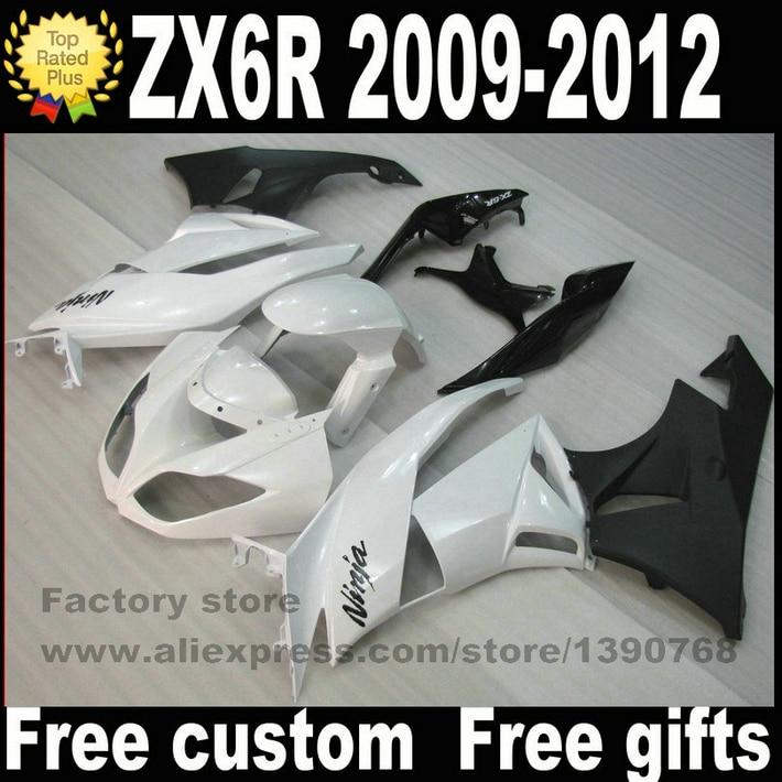 Мотоцикл разделяет комплекты для Кавасаки запросу zx6r обтекатель 2009 2010 2011 2012 белый черный ниндзя обтекатели комплект BS56