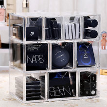 Acrylic Clear Makeup Organizer box 10 Grids Large Capacity Cosmetic Makeup Storage Drawers Organizer box Jewelry storage case(China)
