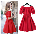 100% cotton New 2017 Autumn summer Women Dress short Sleeve Casual plus size Dresses Vestidos WC380-1