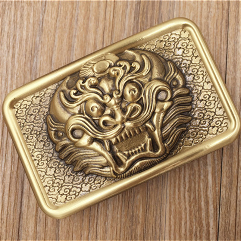 Solid Brass Chinese Style Belt Buckle Men Belt Diy Accessories Vintage Belt Buckles Male Strap Belts Luxury Retro Buckles BK0036