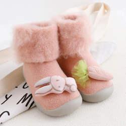 KiDaDndy От 0 до 3 лет для малышей обувь стереоскопический зимние теплые махровые Thicked волосатые нескользящие носки Детские Резиновая подошва