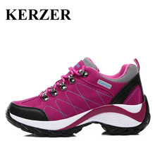 KERZER Outdoor Sport Women Hiking Shoes Spring/Autumn Hiking Walking Sneakers Black/Red Ladies Shoes Leather Trekking Boots