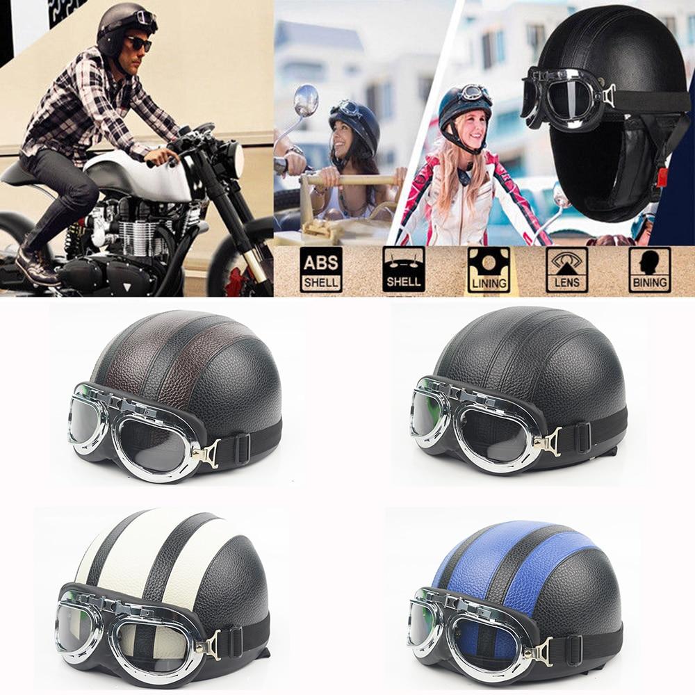 evomosa Retro Motorcycle Half font b Helmet b font Motorbike Open Face With Visor Unisex Off