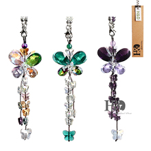 H&D Butterfly Crystal Ornaments Chandelier Crystal կախովի պրիզմայով Fengshui Suncatcher Rainbow Pendant Maker Car Charm (Set 3)