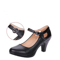 35 40size Black High Heeled Square Heel Woman OL Shoes With Round Toe Thick Straps Pumps