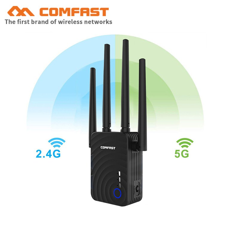 COMFAST CF-WR754AC 1200Mbps Wireless WiFi Range Extender 2.4Ghz /5Ghz Dual Band Repeater Signal Booster With 4 External Antennas
