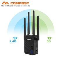 COMFAST – répéteur double bande CF-WR754AC/5Ghz, 1200Mbps, 2.4 Mbps, amplificateur de Signal sans fil avec 4 antennes externes