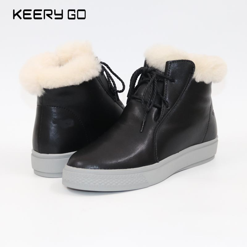 Cowhide wool and fur in one boots snow boots wool boots fur and leather boots