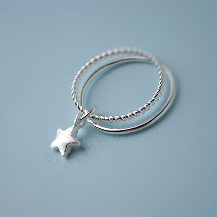 QIMING подвеска с серебряными звездами, двойные кольца для женщин, новый дизайн, прекрасный подарок на Рождество для девочек, эффектные ювелирные изделия, вечерние подарки
