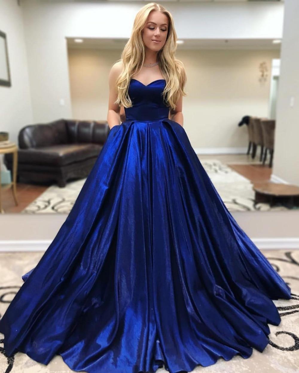 2019 New Royal Blue A Line Long Prom Dresses Sweetheart