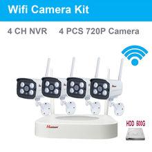 4CH 720 P HD Водонепроницаемые ИК Ночного Видения Видеонаблюдения Безопасности 4 шт. IP WIFI Камеры Системы ВИДЕОНАБЛЮДЕНИЯ Беспроводной NVR Комплект 500 ГБ HDD