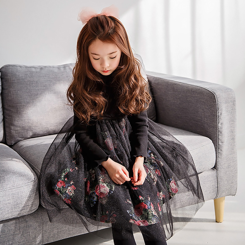 Baby Girls Teens Floral Dress Fall Winter Wedding Party Princess dress Mesh Patchwork Kids Costumes New Year Children Clothing girls dress winter 2016 new children clothing girls long sleeved dress 2 piece knitted dress kids tutu dress for girls costumes