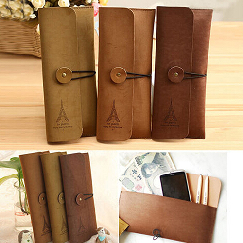 New Suede Leather Cosmetic Makeup Bag Pen Pencil Stationery Case Pouch  8CKL