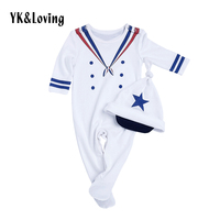 4th of July Baby Boy Romper Clothes Newborn Long Sleeve Jumpsuit and Hat 2 Piece Cotton Toddler Sailor Suit 2017 Fashion Style