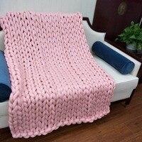 Big Handmade Soft Throw Coarse Wool Acrylic Blanket 60 60cm Pink Washable Bed Throw