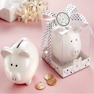 "FREE SHIPPING+""Li'l Saver Favor"" Ceramic Mini-Piggy Bank in Gift Box with Polka-Dot Bow Bridal Shower Favors+2pcs/Lot"