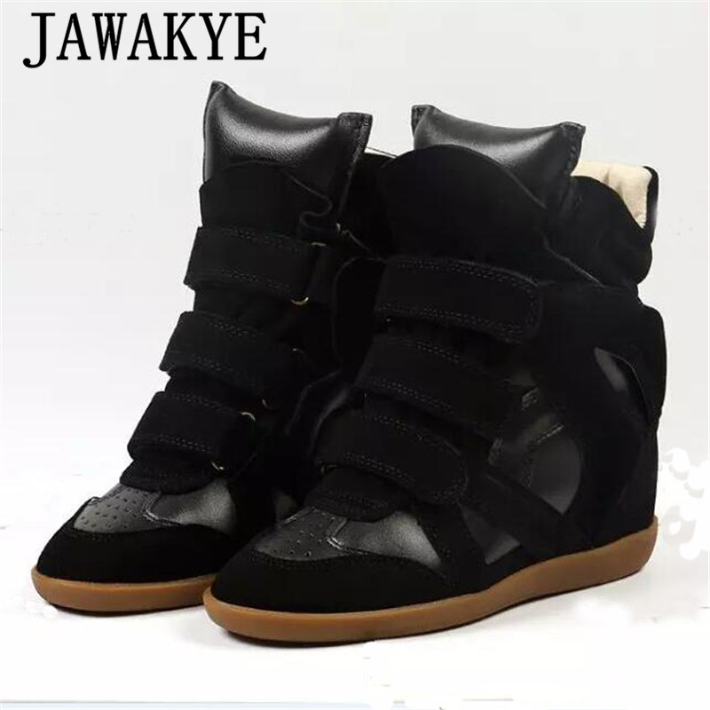 Genuine leather ankle boots women high top wedge heel casual shoes fashion Increase within women shoes