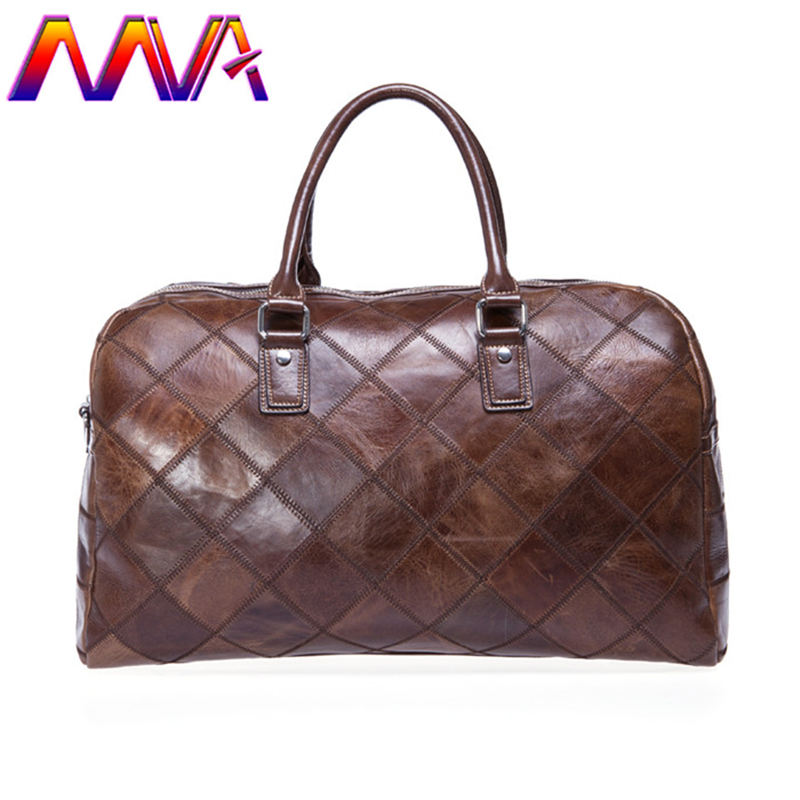 MVA Genuine leather women travel bag with quality cow leather men travel bag luggage shoulder bag for fashion men travelling bag