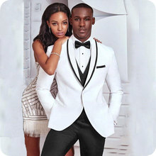 White Men Suits for Wedding Black Shawl Lapel Slim Fit Formal Prom Custom Blazer Tuxedos Best Man Terno Masculino 3Pieces
