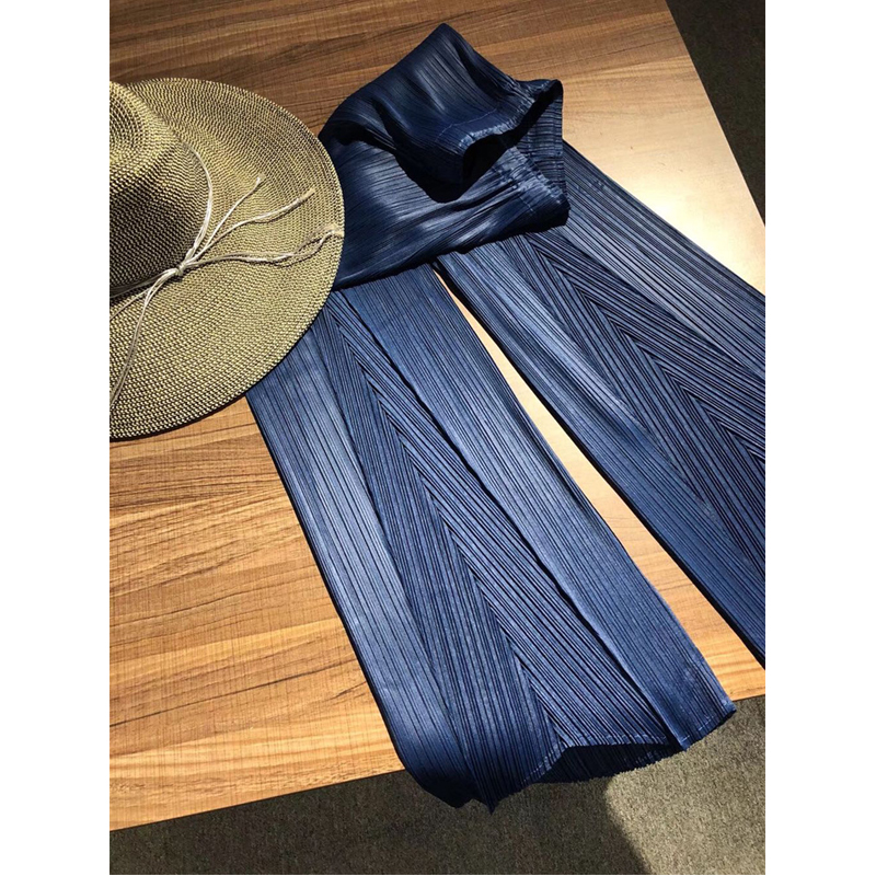 Changpleat 2019 Spring New Solid Women   wide     legged     pants   Miyak Pleated Fashion Design Elastic waist Loose Female trousers Tide