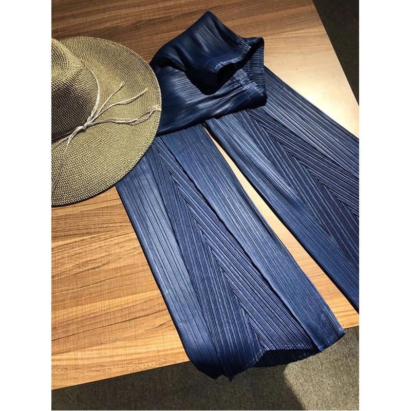 Changpleat 2019 Spring New Solid Women Wide Legged Pants Miyak Pleated Fashion Design Elastic Waist Loose Female Trousers Tide