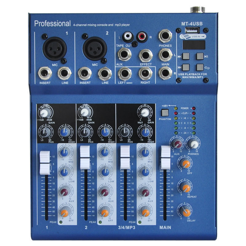 Freeboss MT-4 2 Mono + 1 Stereo 4 Channels USB Professional DJ Audio Mixer Console with 48V Phantom mono efx the fader jet black dj bag