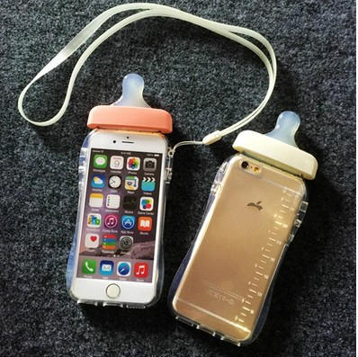 brand new 9b482 0ac7b US $6.99 |DIY Rhinestone 3D Milk cartons phone cases Silicone case For  iphone6 6plus 5 5s 4 4s Baby pacifier bottle case cover with strap on ...