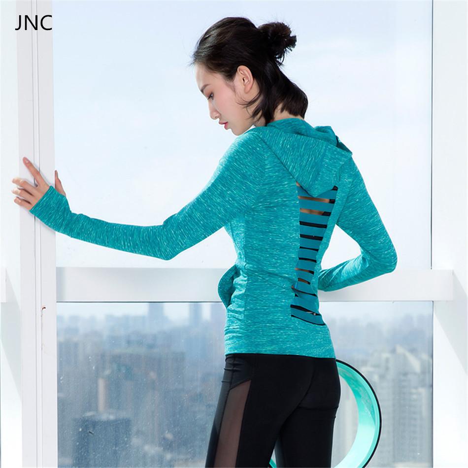 Prix pour Femmes Chic Manches Longues Hoodies Évider Solide Couleur Gris Maillots de Sport Doux de Course Chemises Bleu Yoga Top Vêtements D'entraînement