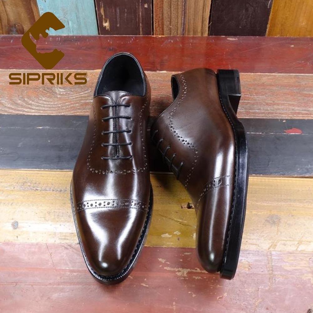 Sipriks importé italie cuir de veau chaussures hommes brun foncé Brogue richfords élégant noir classique Goodyear Welted robe chaussures 45 46-in Chaussures d'affaires from Chaussures    1