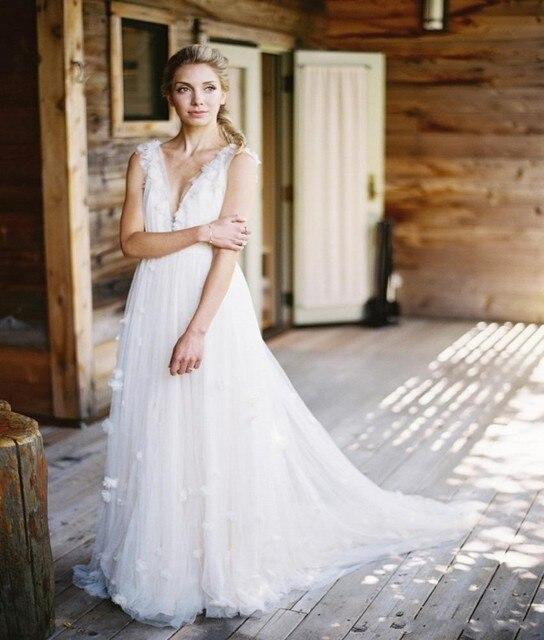 Suknie ślubne W Stylu Rustykalnym Kraju Zjawiskowy Głęboki Dekolt