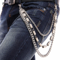 "3 Strand New Men's Wallet Jean Biker Chain Silver Metal Spring Link Hip Hop-25"" 3 Layer Jeans Pants Chain KB20"
