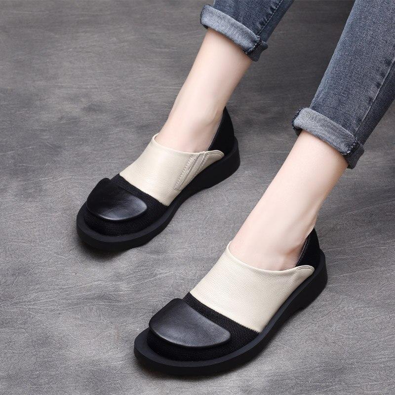 Femmes Paresseux Chaussures En Cuir Pompes Talons Bas Glissent Sur 2019 Printemps Chaussures En Cuir Véritable Femmes Marque Pompes Rétro Marque Chaussures tyawkiho