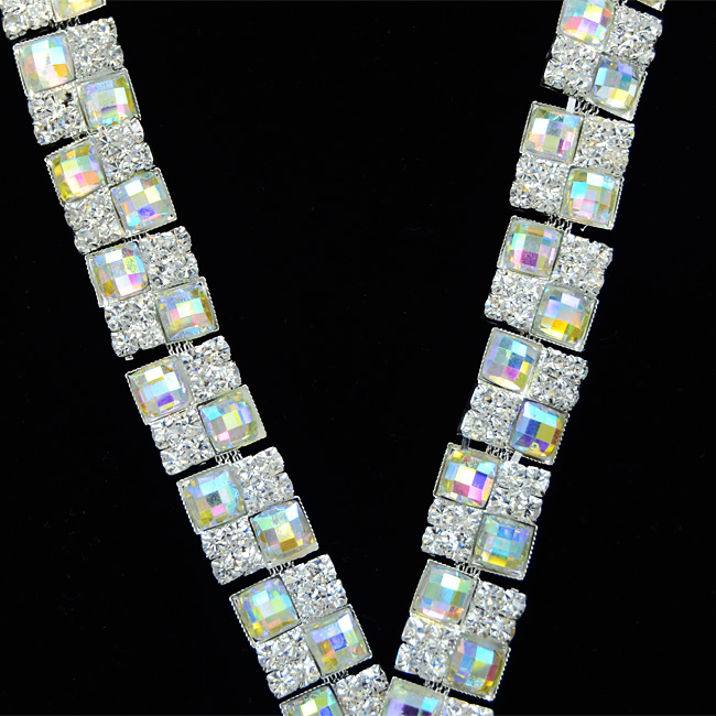 100Yards Rhinestone trims ab square wedding applique trim Bridal Sash