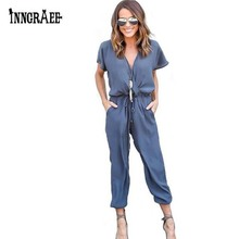 inngraee 2017 office rompers women jumpsuit summer v-neck tied waist sexy party playsuit  overalls pockets ns8446