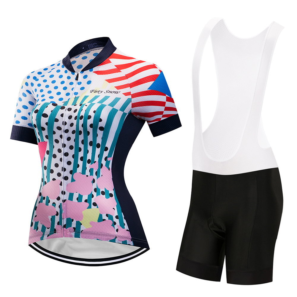 New 2018 Women Bike Shirt 100% Polyester Breathable Bicycle Clothes Summer Cycling Sets Short Sleeve Bike Jerseys Clothing