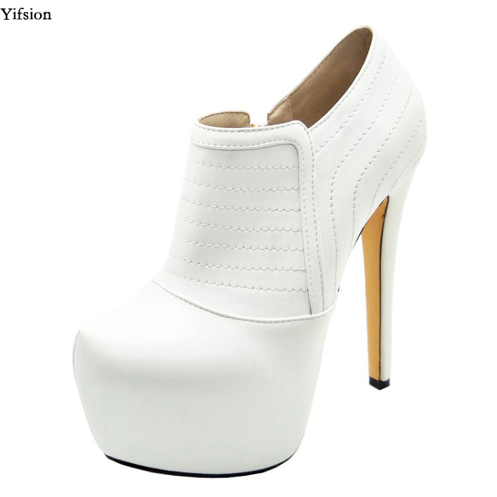 Olomm New Women Platform Pumps Sexy Thin High Heels Pumps Gorgeous Round Toe Elegant White Casual