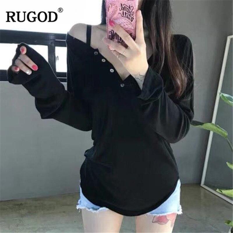 RUGOD Fashion women Tshirts korean Casual long sleeve solid t shirts female elegant Sexy V neck spring tops white Tee Shirt