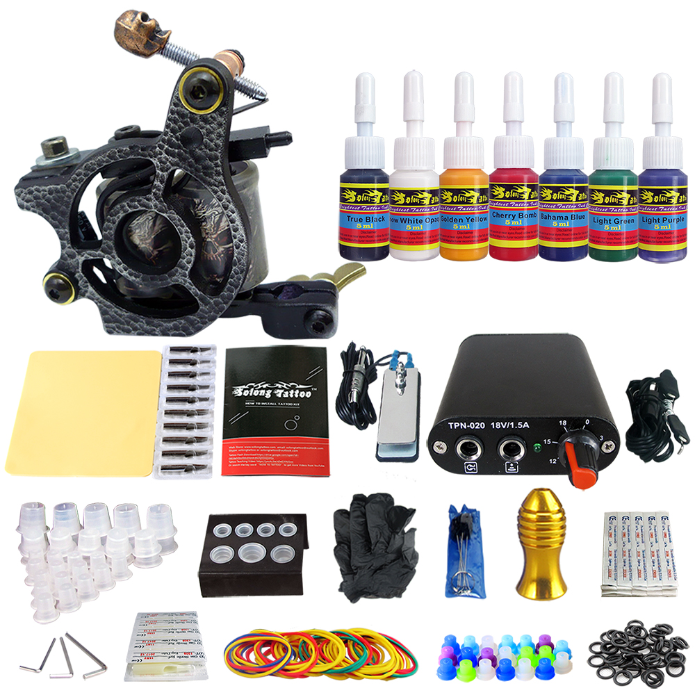 Hybrid Complete Tattoo Coil Machine Kit For Liner Shader Power Supply Foot Pedal Needles Grip Tips Tattoo Body&Art TK105-48Hybrid Complete Tattoo Coil Machine Kit For Liner Shader Power Supply Foot Pedal Needles Grip Tips Tattoo Body&Art TK105-48
