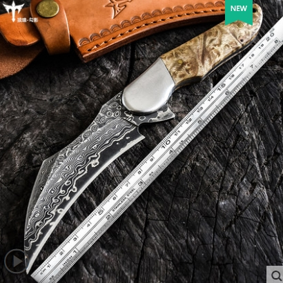 Couteau à griffes en acier damas couteau de chasse CS GO couteau à griffes tactique Camp randonnée en plein air auto-défense chasse outils de survie