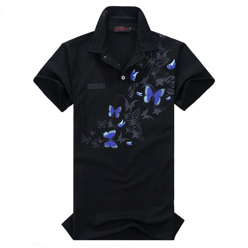 In Summer Mens Short Sleeve Polos Fashion Butterfly Print Turn Down Collar Polo Men High Quality Mens Clothes Trend Polo Shirt 6xl Fashionable Style;