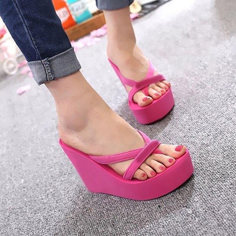 Outdoor Slippers Platform-Shoes Wedges Flip-Flops Summer Women Casual Flat Slides Simple