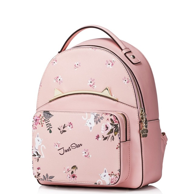 245e40a79593 Women s Cute Kitty Floral Print Pink Leather Top Handle Bag Everyday  Backpack