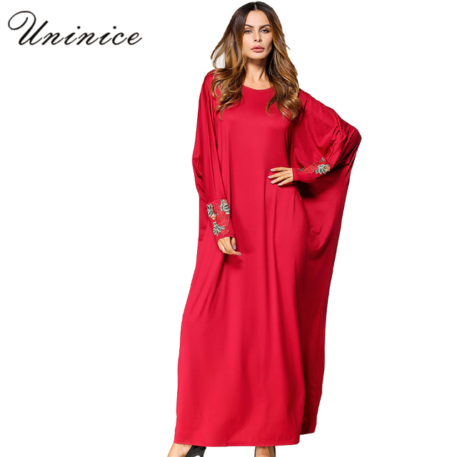 053626d3de Casual Muslim Maxi Dress Embroidery Abaya Robe Batwing Sleeve Loose Style  Middle East Moroccan Ramadan Arab Islamic Clothing