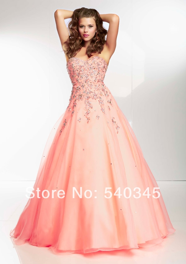 Sexy Lace-up A-Line Sweetheart Long Party   Dress   Crystal Sequined Beading Appliques Organza Floor-Length   Prom     Dresses   2014 A86