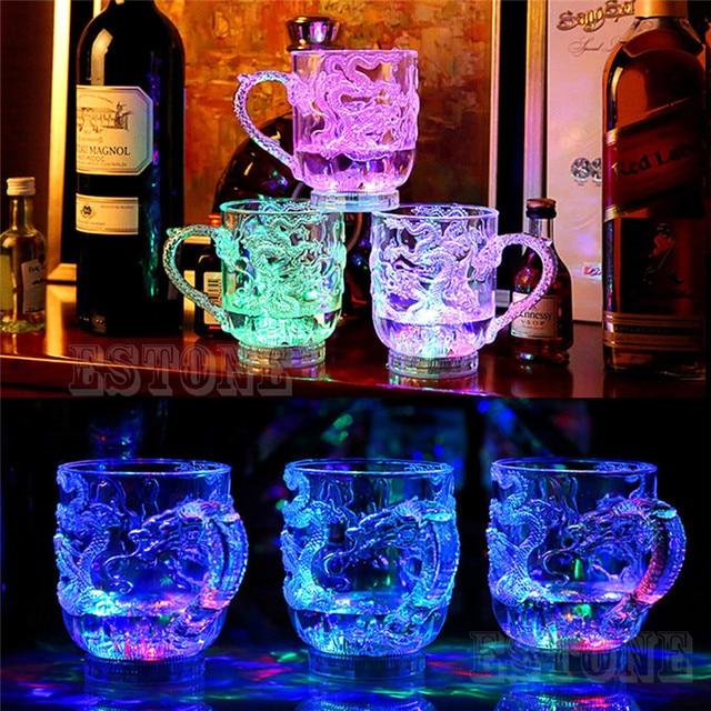 NoEnName_Null очки пивная чашка Дракон светодио дный светодиодный Индуктивный Радужный Цвет мигающий свет кружки для вечерние