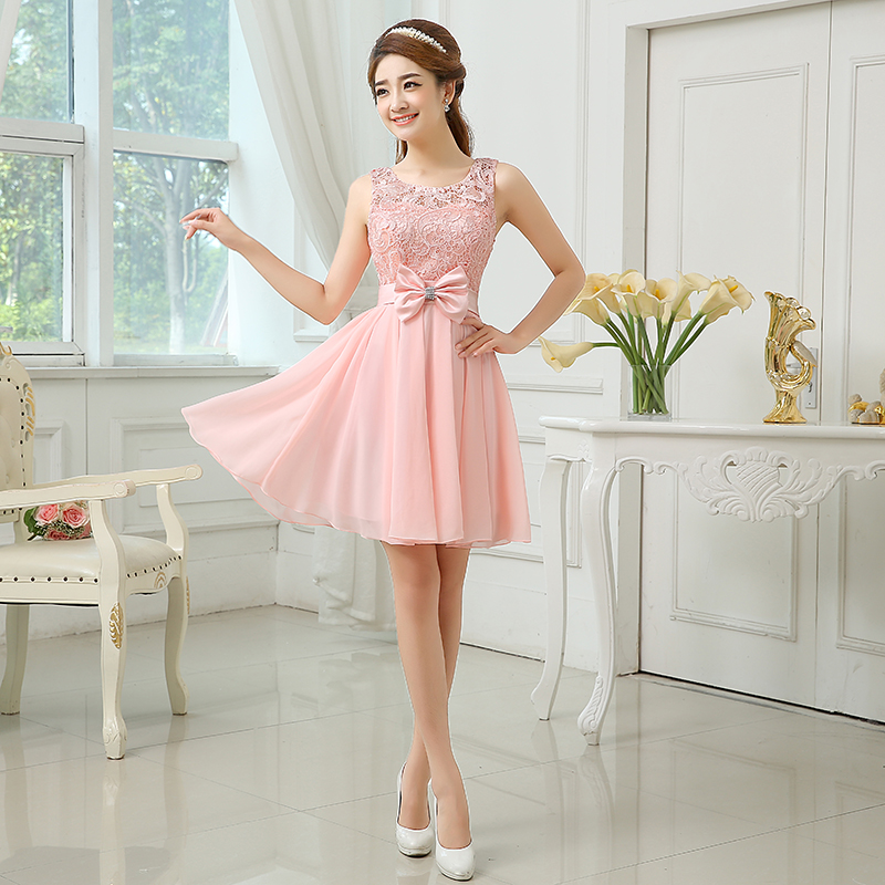 Summer Chiffon Bridesmaid Dress Bride Sisters Light Champagne Pink Lace Up Dresses With Bow In From Weddings Events On