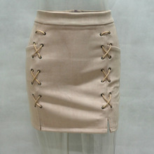 Women Sexy Lace-up Suede Skirt