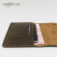 Cuppozo Crazy Horse Genuine Leather Long Men Slim Travel Wallet Handmade Retro Cow Leather Fashion Leather Hasp Purse Wholesale