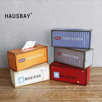 Retro Creative Container Design Iron Tissue Box Home Car Napkin Paper Container Metal Paper Towel Storage Case Home Decor 04239