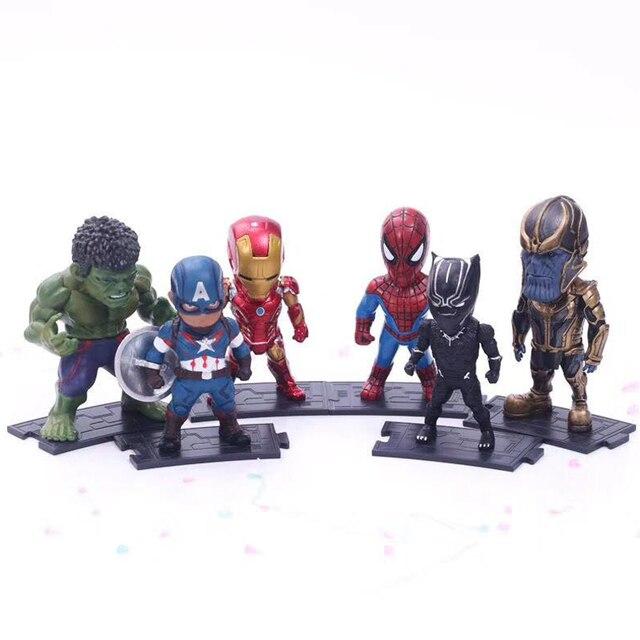 6 pçs/set Infinito Guerra de Super-heróis Vingadores Homem De Ferro Hulk Capitão América Thor Superman Figuras de Ação Presente Para Brinquedos das Crianças # E